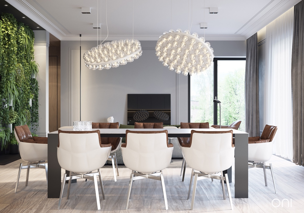 fabulous dining room with chic lighting