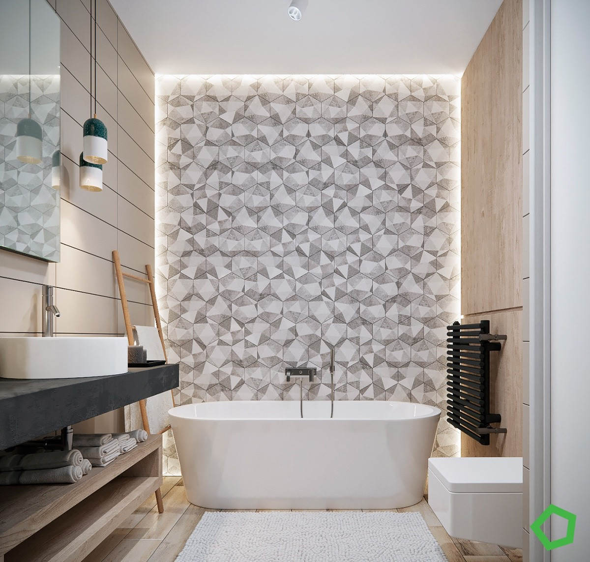 geometric-bathtub-accent-wall