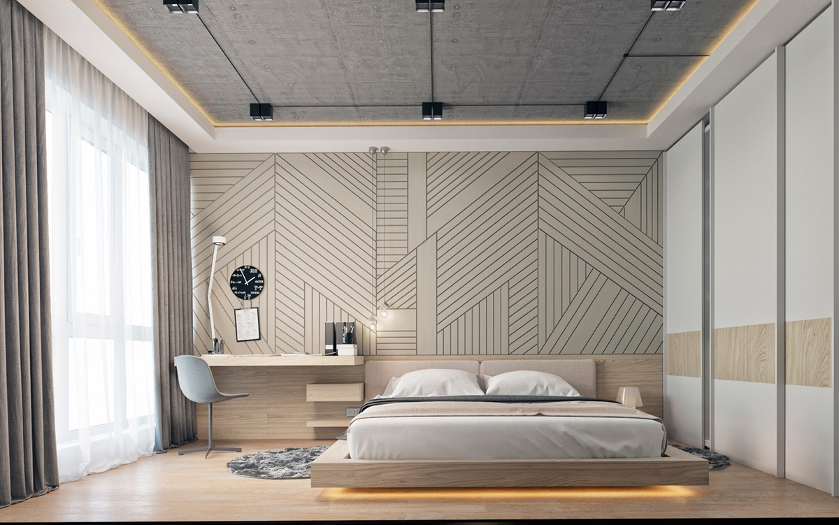 Modern bedroom ideas with wooden scheme design bring out a trendy layout - Accent wall in small bedroom ...
