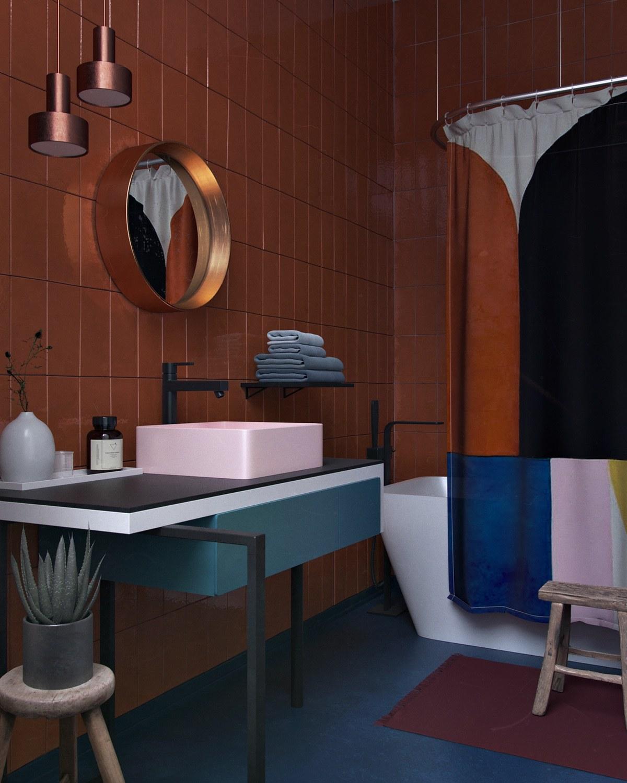 geometric-shower-curtain-towel-racj-colorful-bathroom