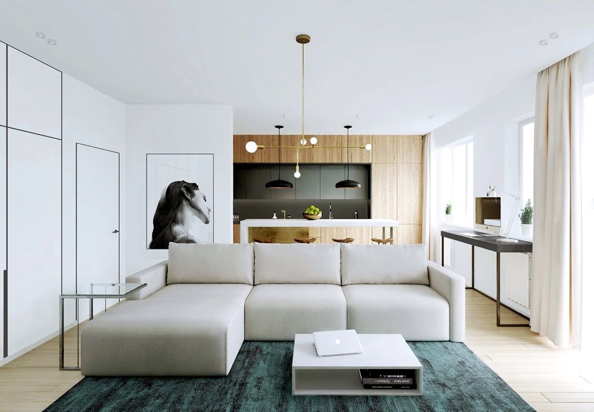 Modern apartment decor with minimalist and natural neutral for Modern apartment plans