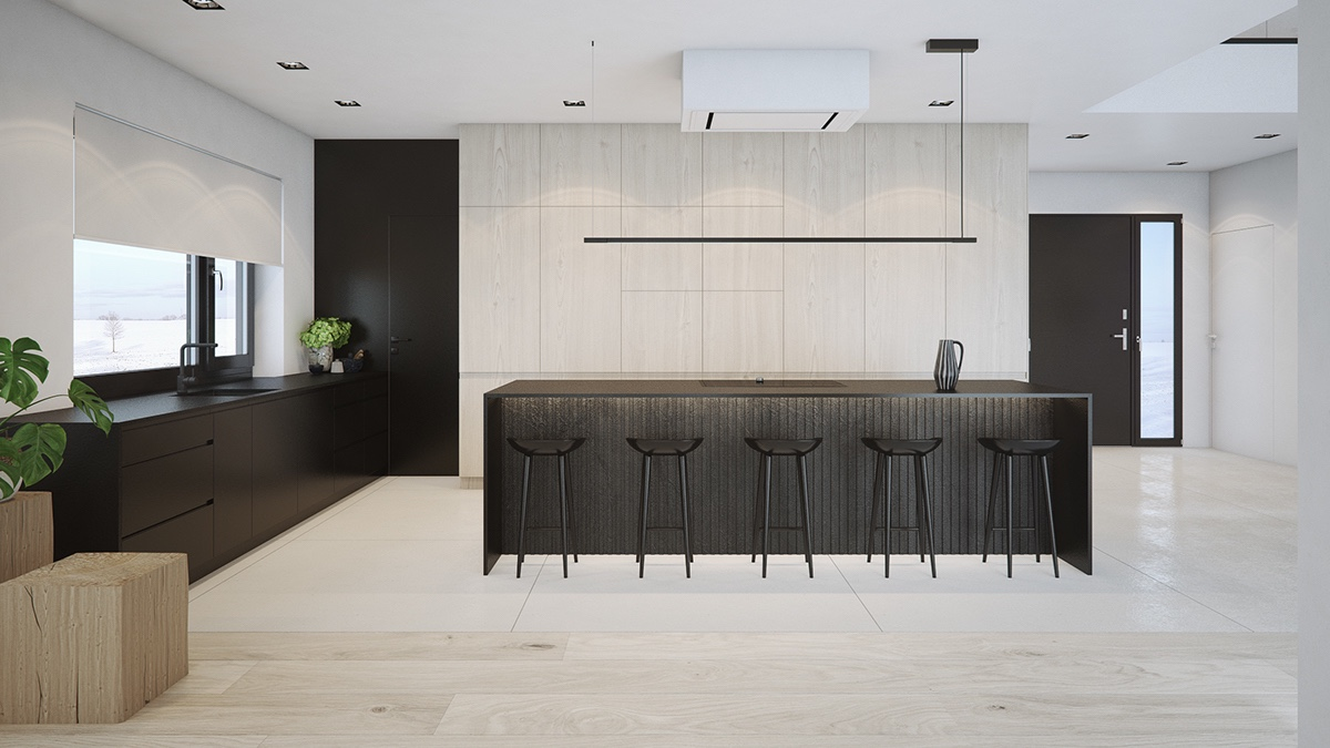 kitchen-room-black-white-wood