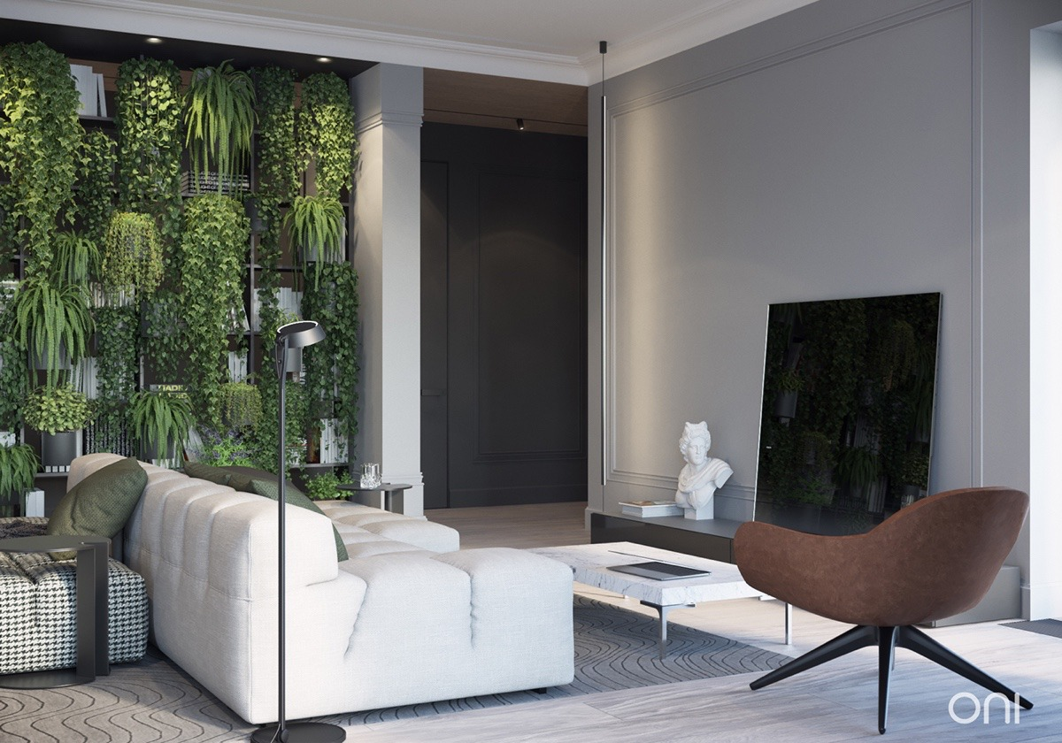 living-room with natural plant