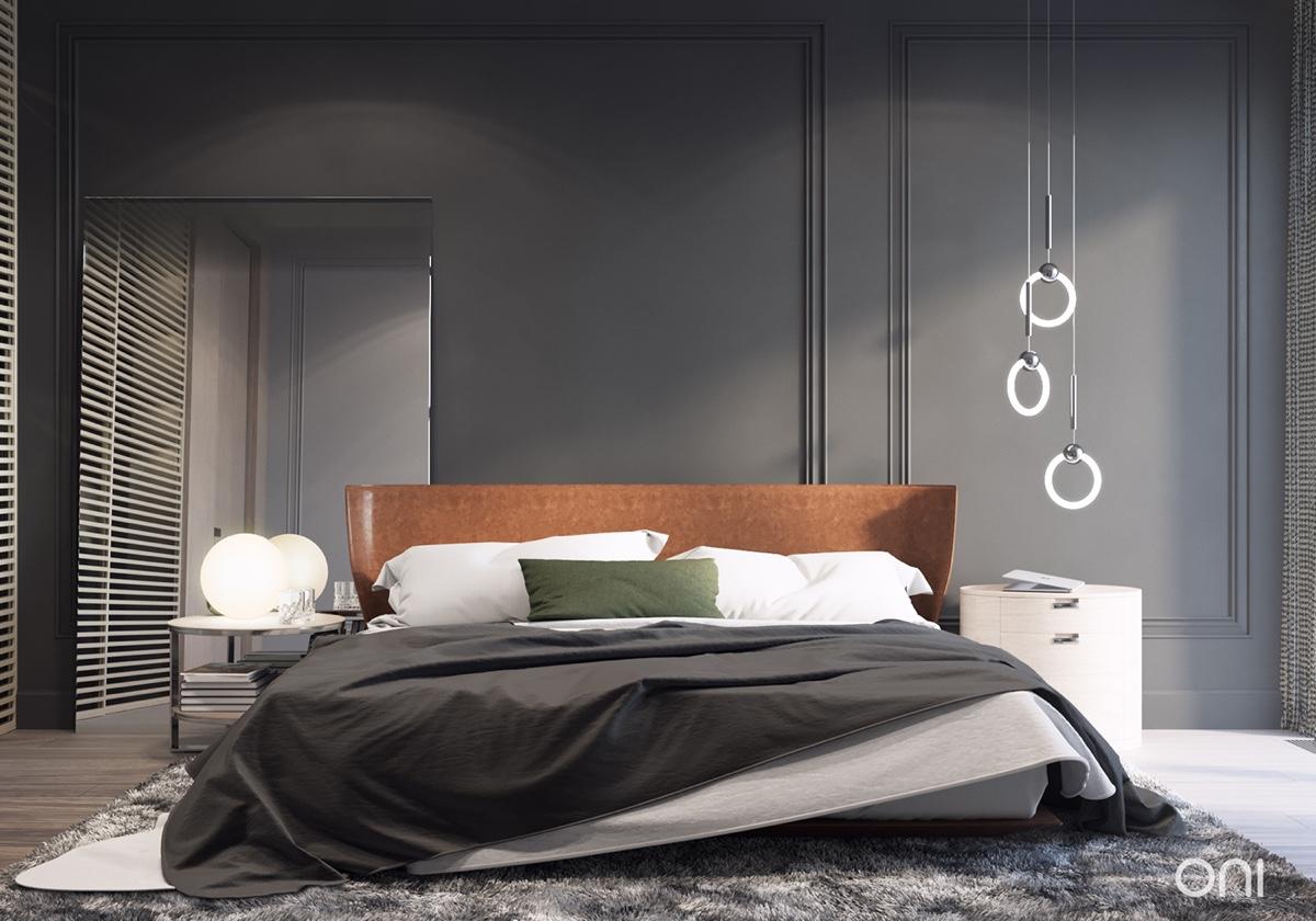 minimalist bedroom decor with gray