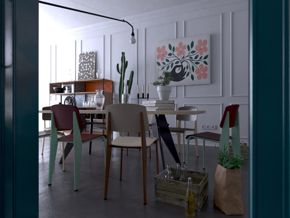 mismatched-dining-chairs-white-panelled-walls