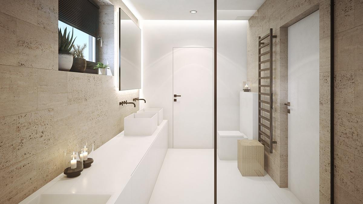 modern-bathroom-open-shower-indoor-pot-plants