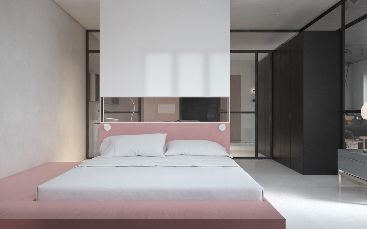 modern soft pink bedroom