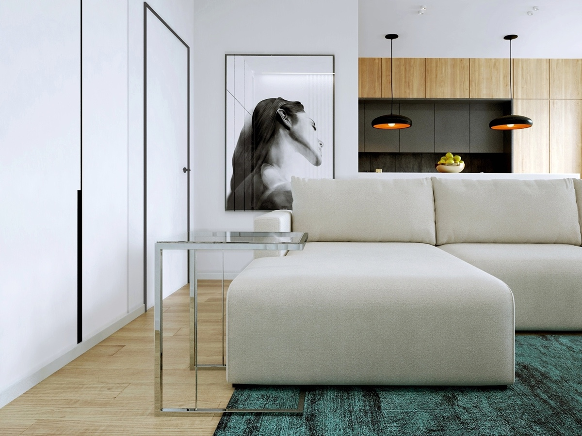 simple white living room
