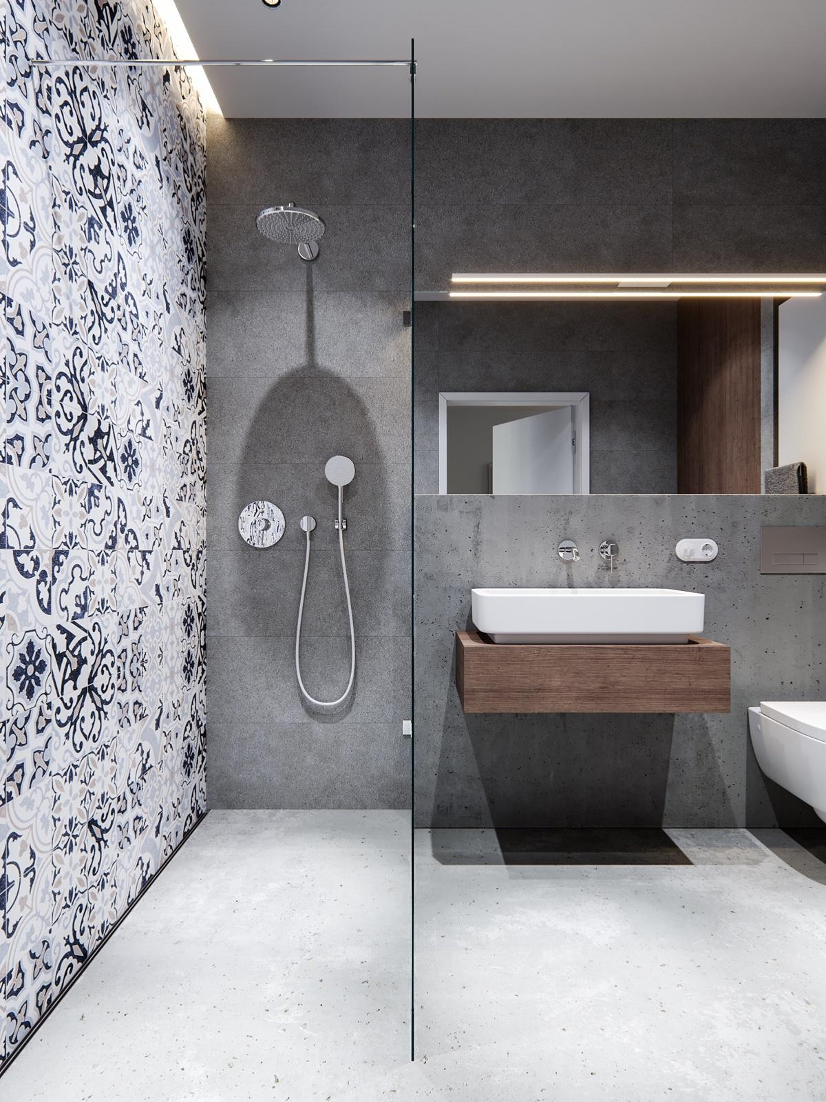 Trendy bathroom designs combined with modern and geometric for Unique bathroom tile designs