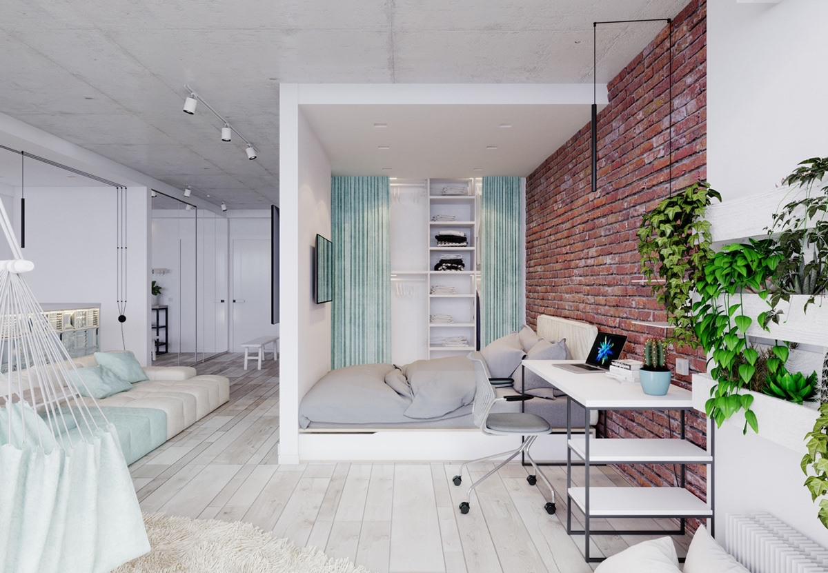 Unique apartment design applied with charming style decor for Cool studio apartment ideas