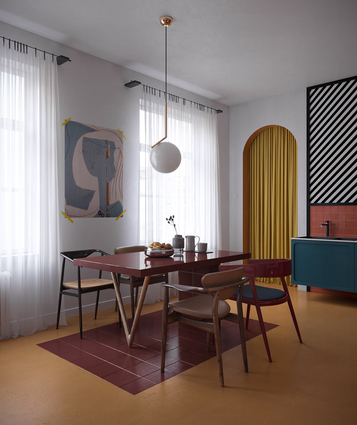 wall-poster-dining-tables-mismatched-chairs