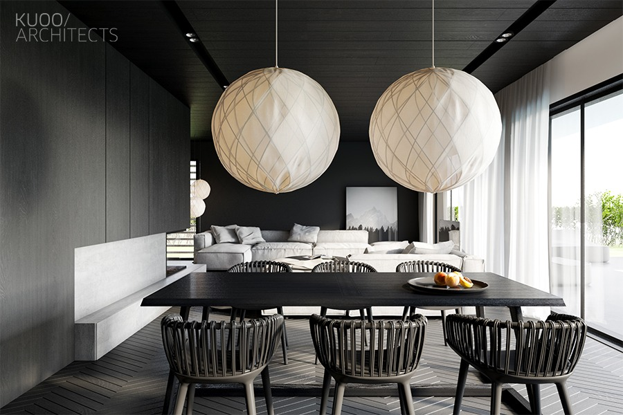 white-lantern-black-walls-monochrome-dining-room