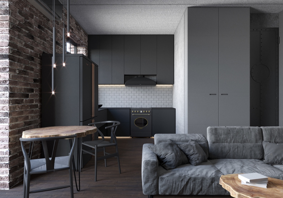 open plan gray apartment