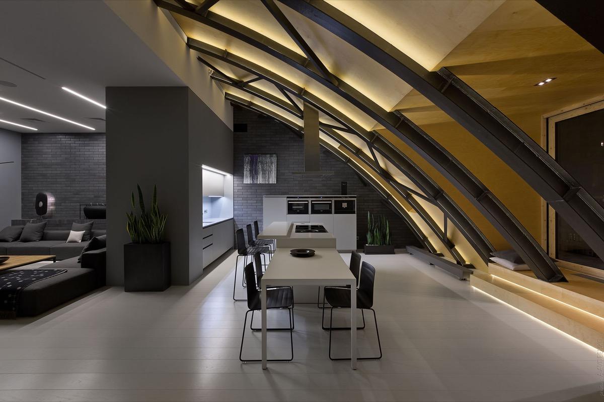 contemporary dark dining room