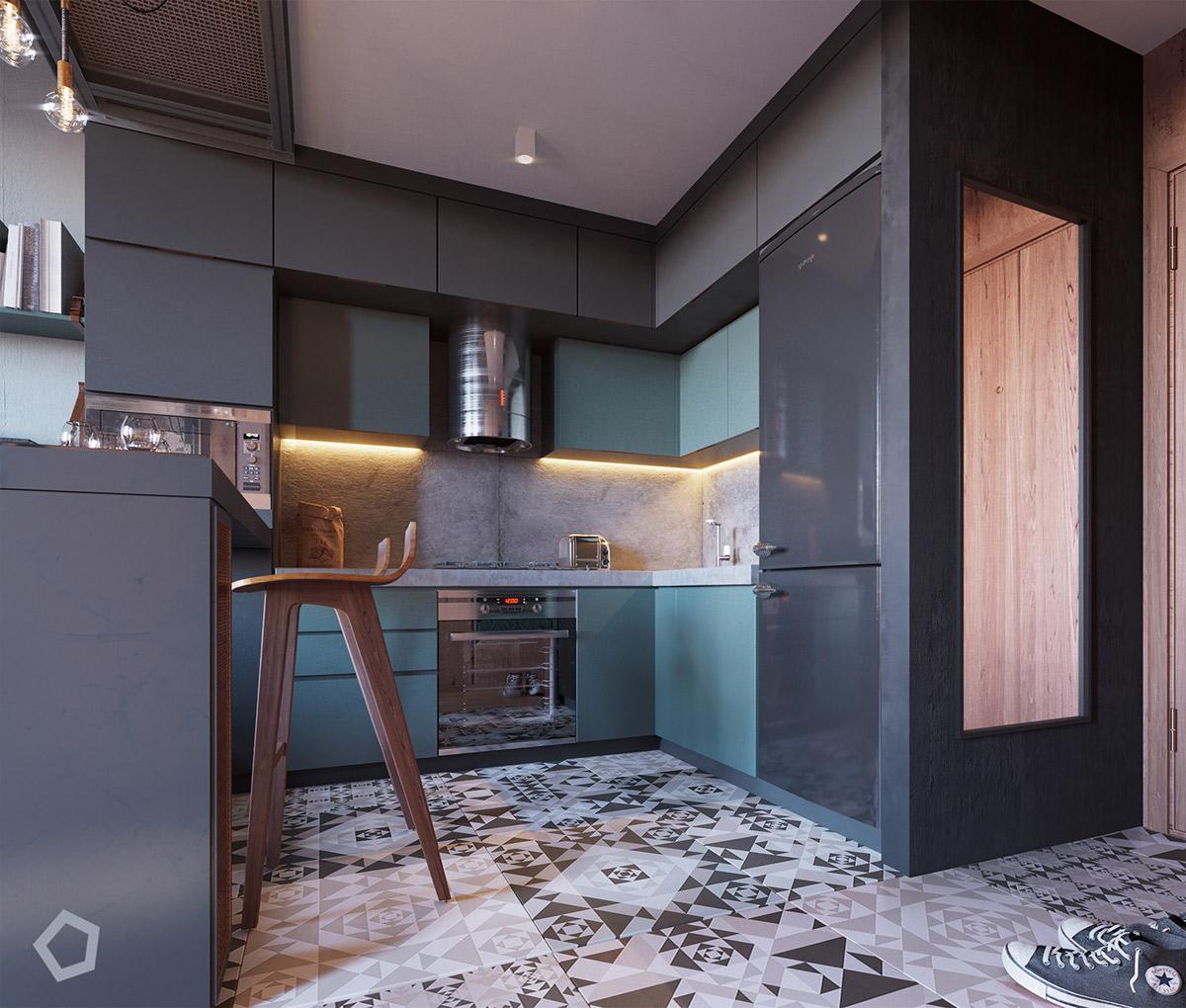 dark small kitchen design