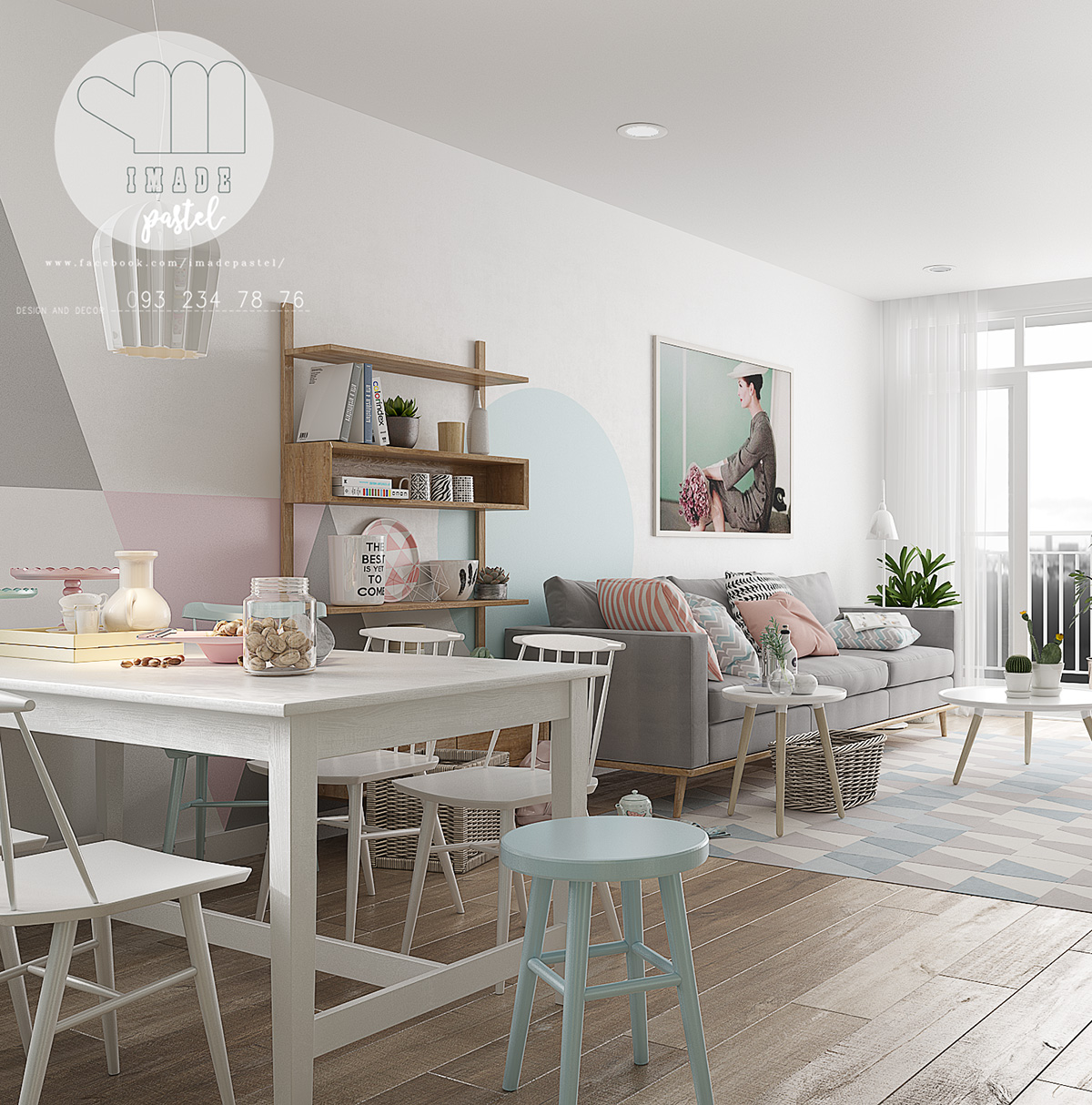 Scandinavian-pastel-dining-room-wall-decal