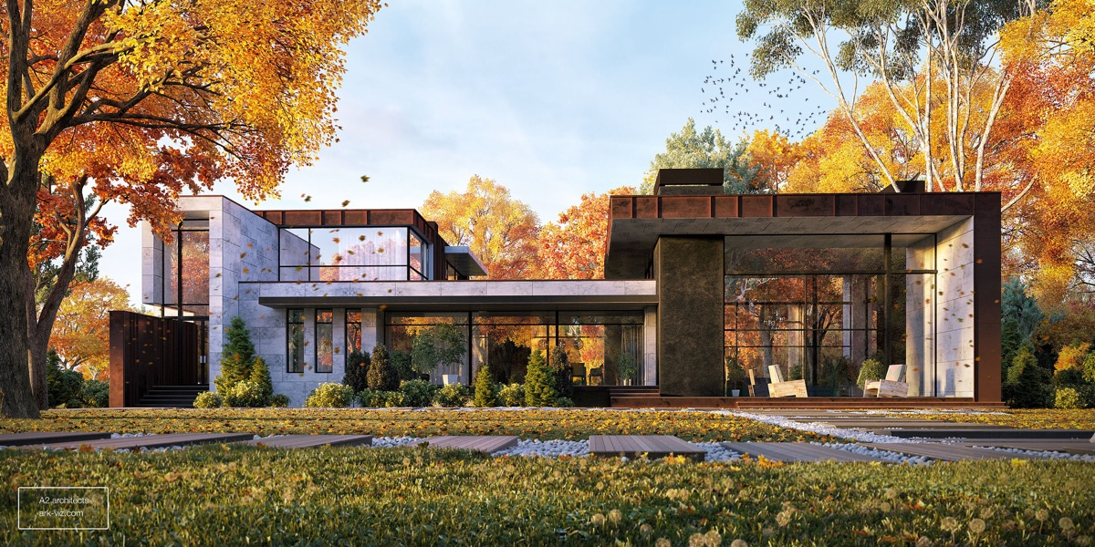 Stunning house exterior designs with attractive and unique for Modern house ark