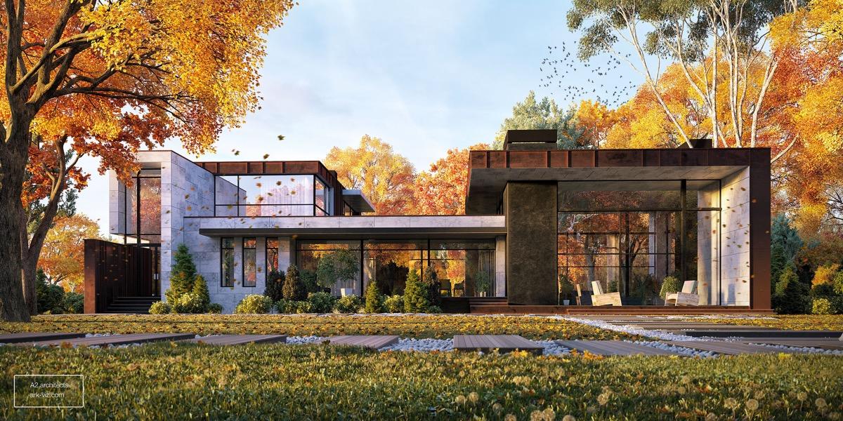 autumn-setting-wide-modern-house-exterior-designs