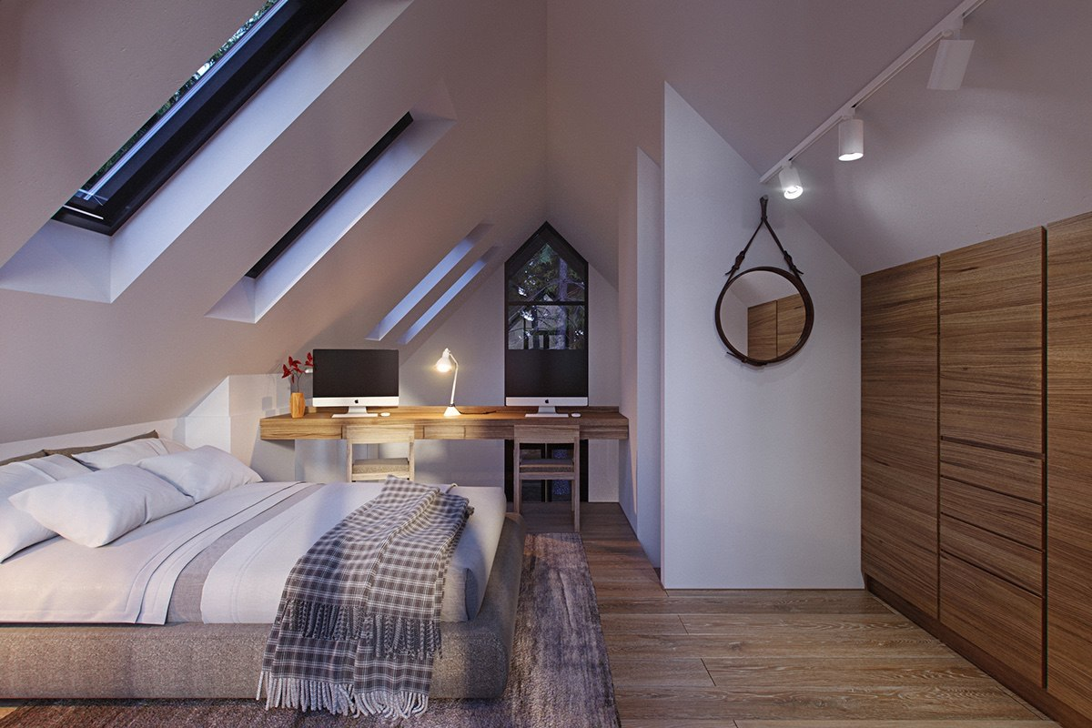 stylish bedroom-loft-with-gabled-ceiling