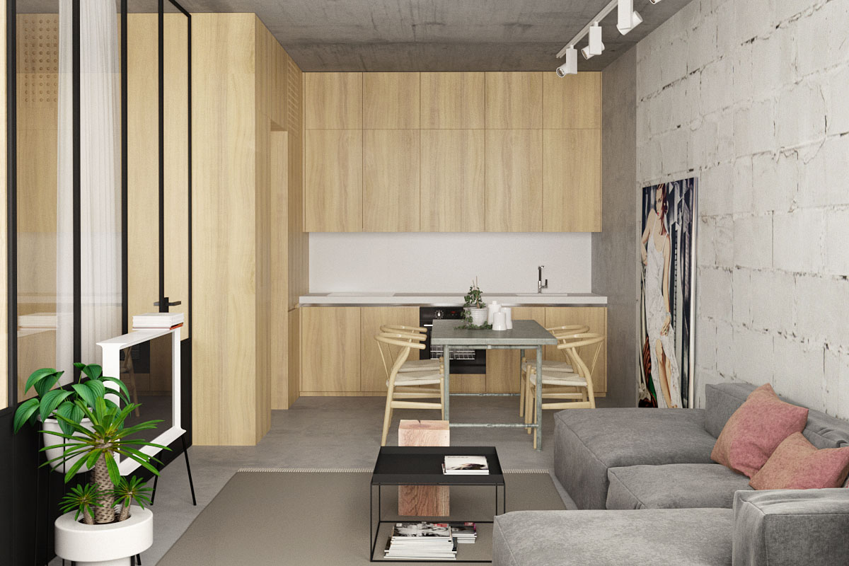 concrete-and-wood for open plan concept