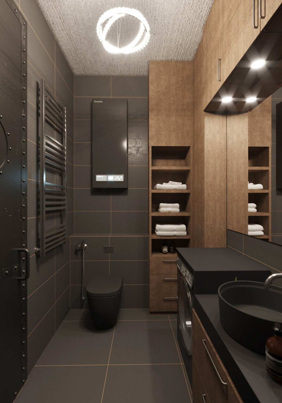 Chic small studio apartment use a space splendidly to make for Dark bathrooms design