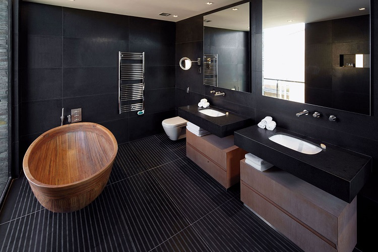 dark luxury bathroom design
