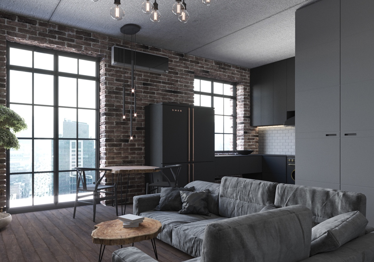 industrial studio apartment. Arch Ants Studio Gray Studio Apartment Chic Small Apartment Use A Space Splendidly To Make It Looks