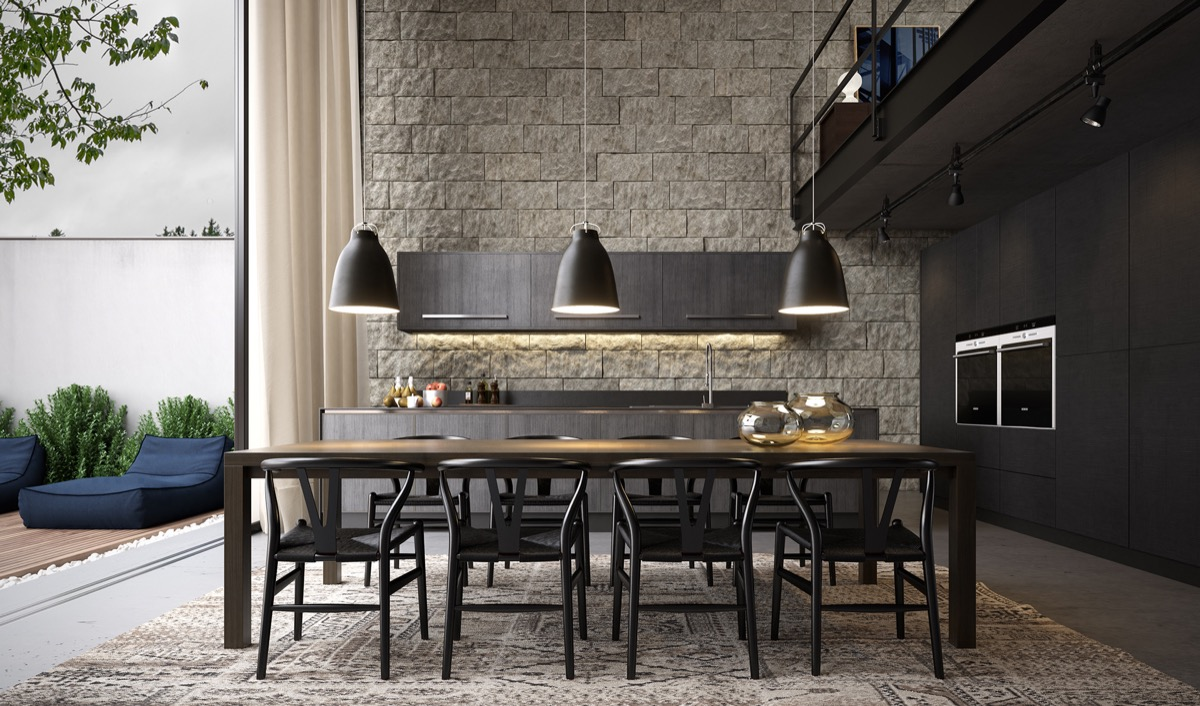 exposed-brick-wall-grey-bachelor-pad-dining