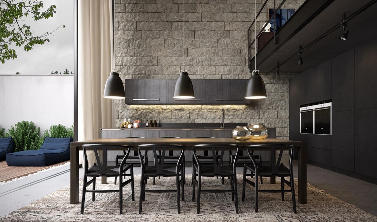 exposed-brick-wall-grey-bachelor-pad-dining