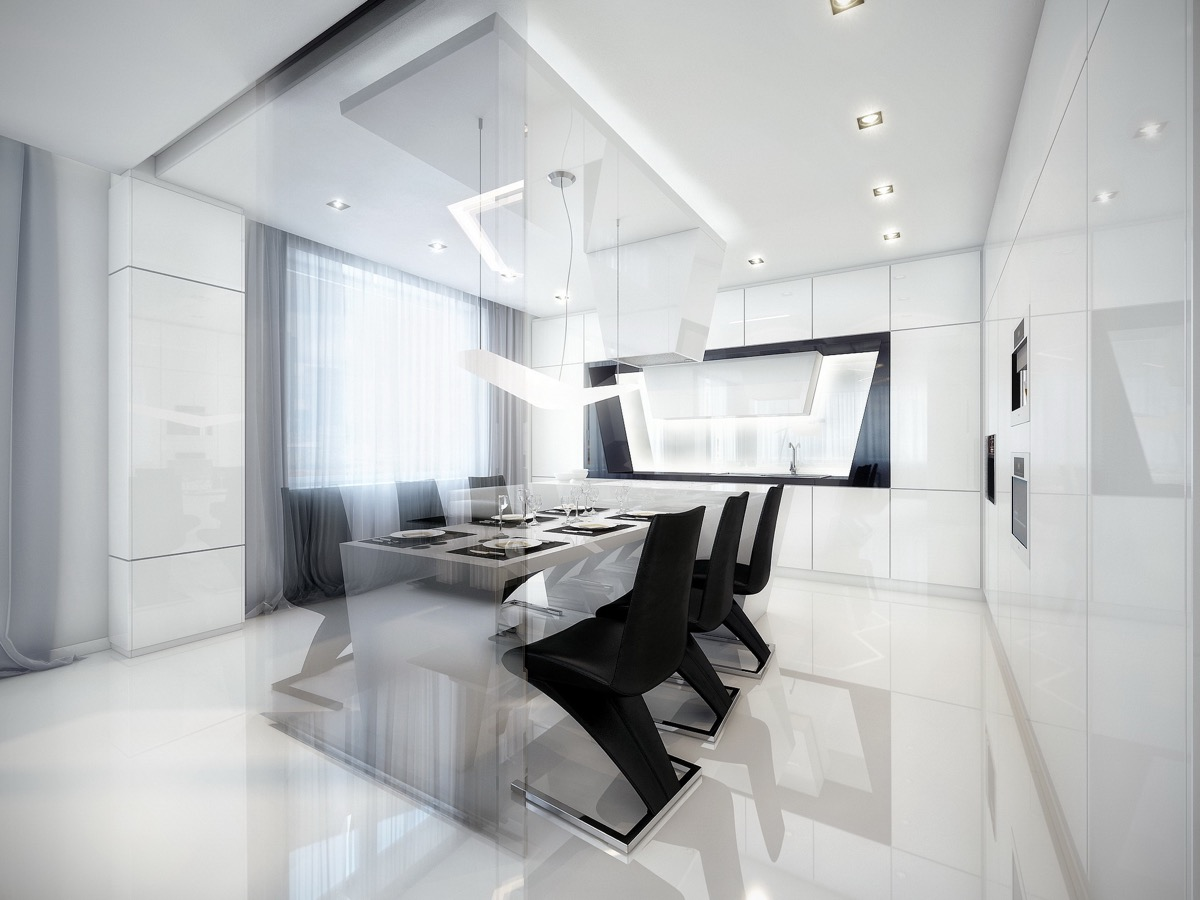 futuristic-black-and-white-dining-room
