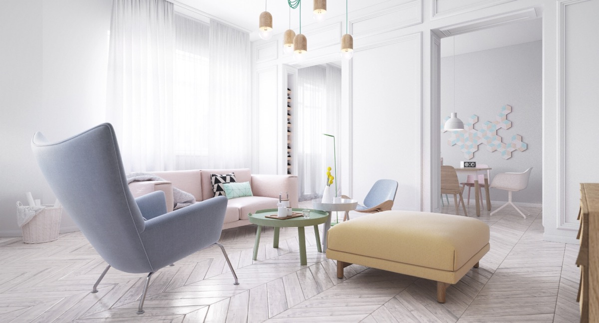 Scandinavian interior designs with pastel and lightly colour wood bring out a comfort zone Apartments using pastel to create dreamy interiors