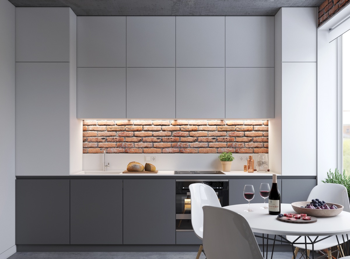 minimalist-kitchen-with-exposed-brick-wall