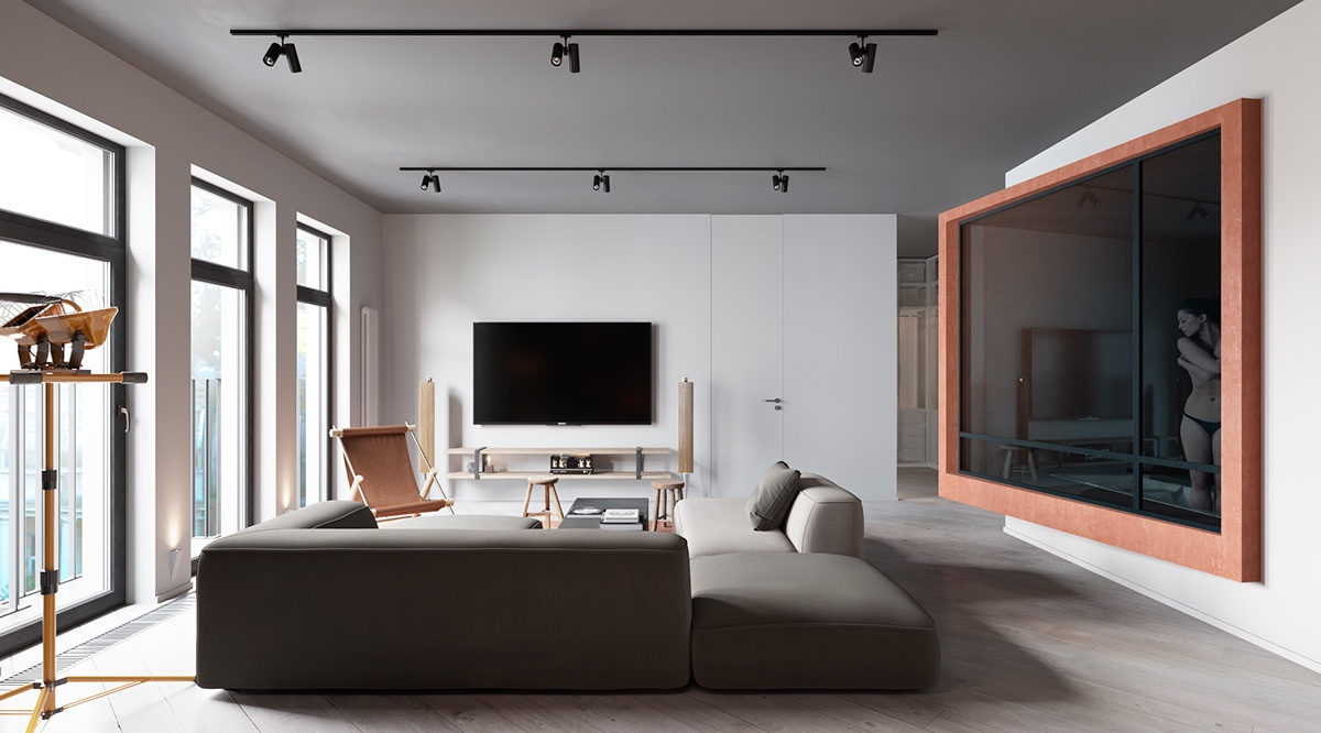 A sleek apartment interior design with modern and unique for Modern sleek living room