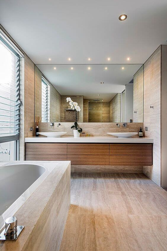 modern wooden bathroom decor