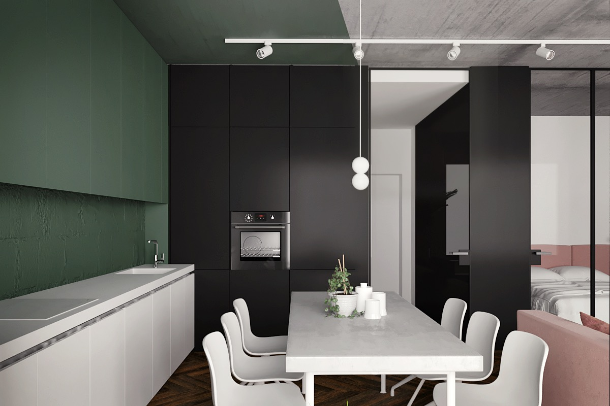 pink-green-white-and-black kitchen set design