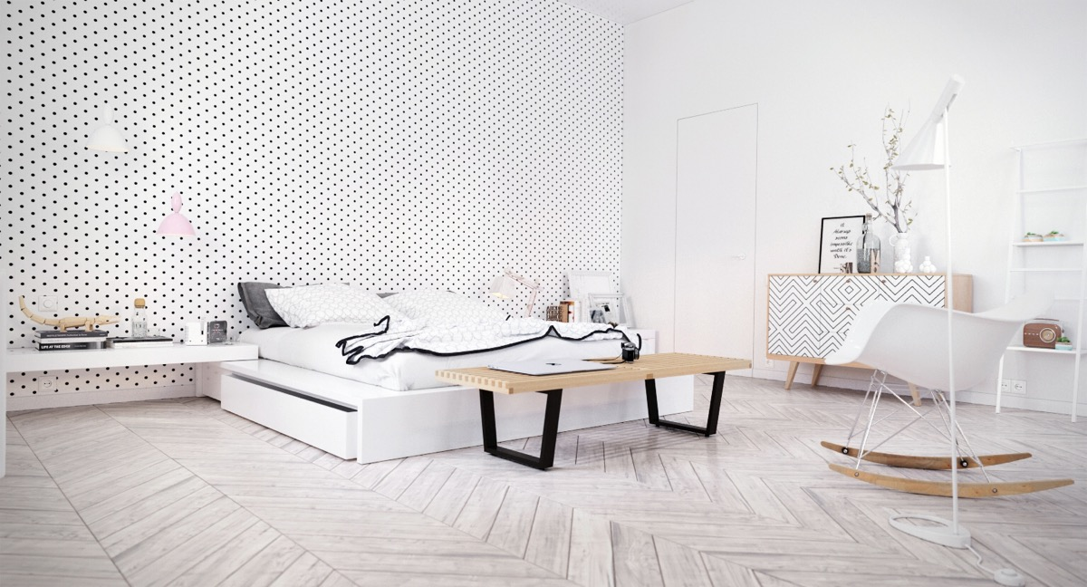 polka-dot-wall-bedroom