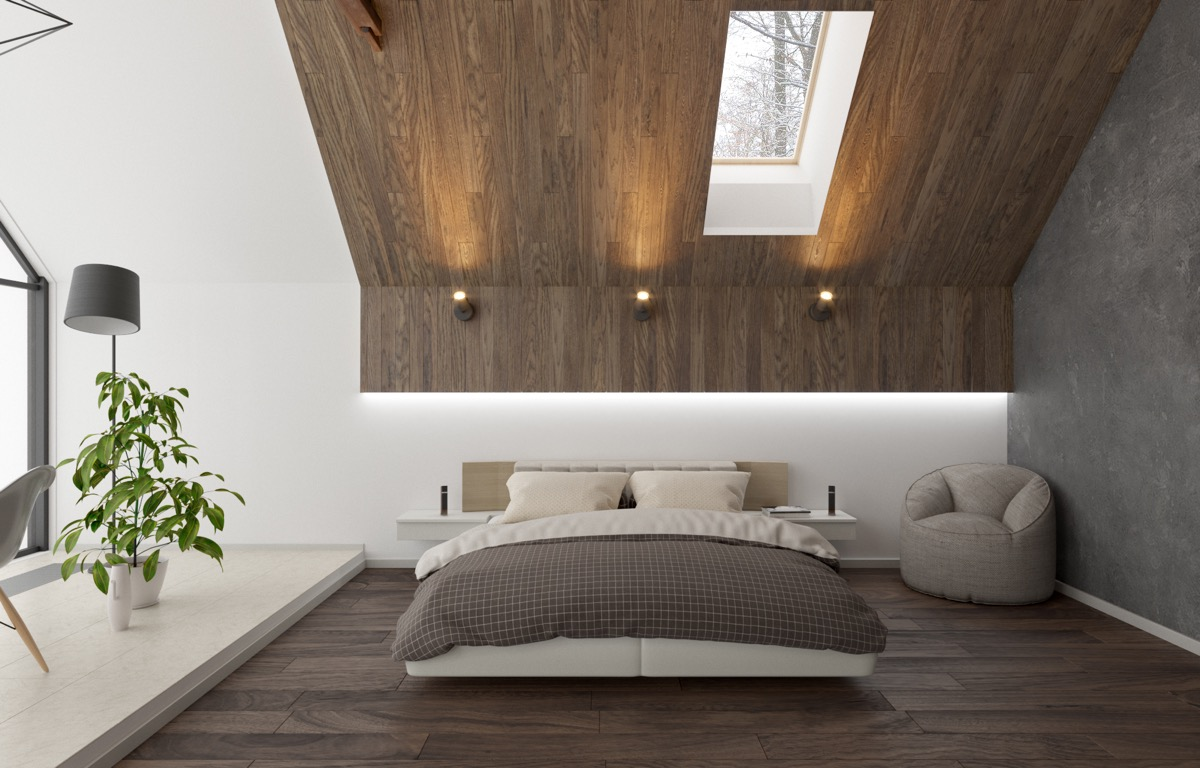 modern wooden bedroom