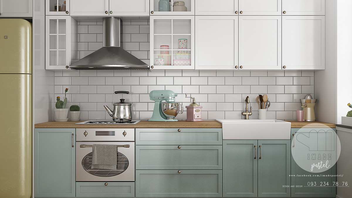 teal-Scandinvian-kitchen-tile-brickwork-splashback