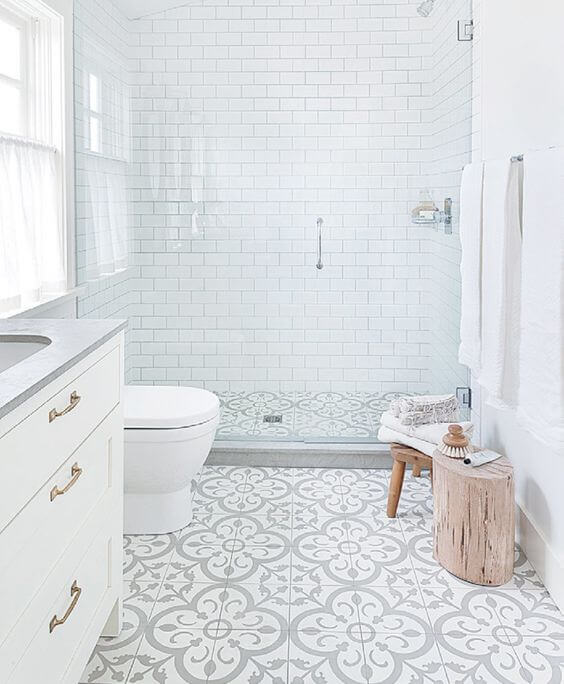 white brick modern bathroom