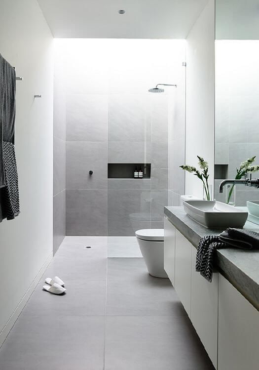 white modern shower bathroom