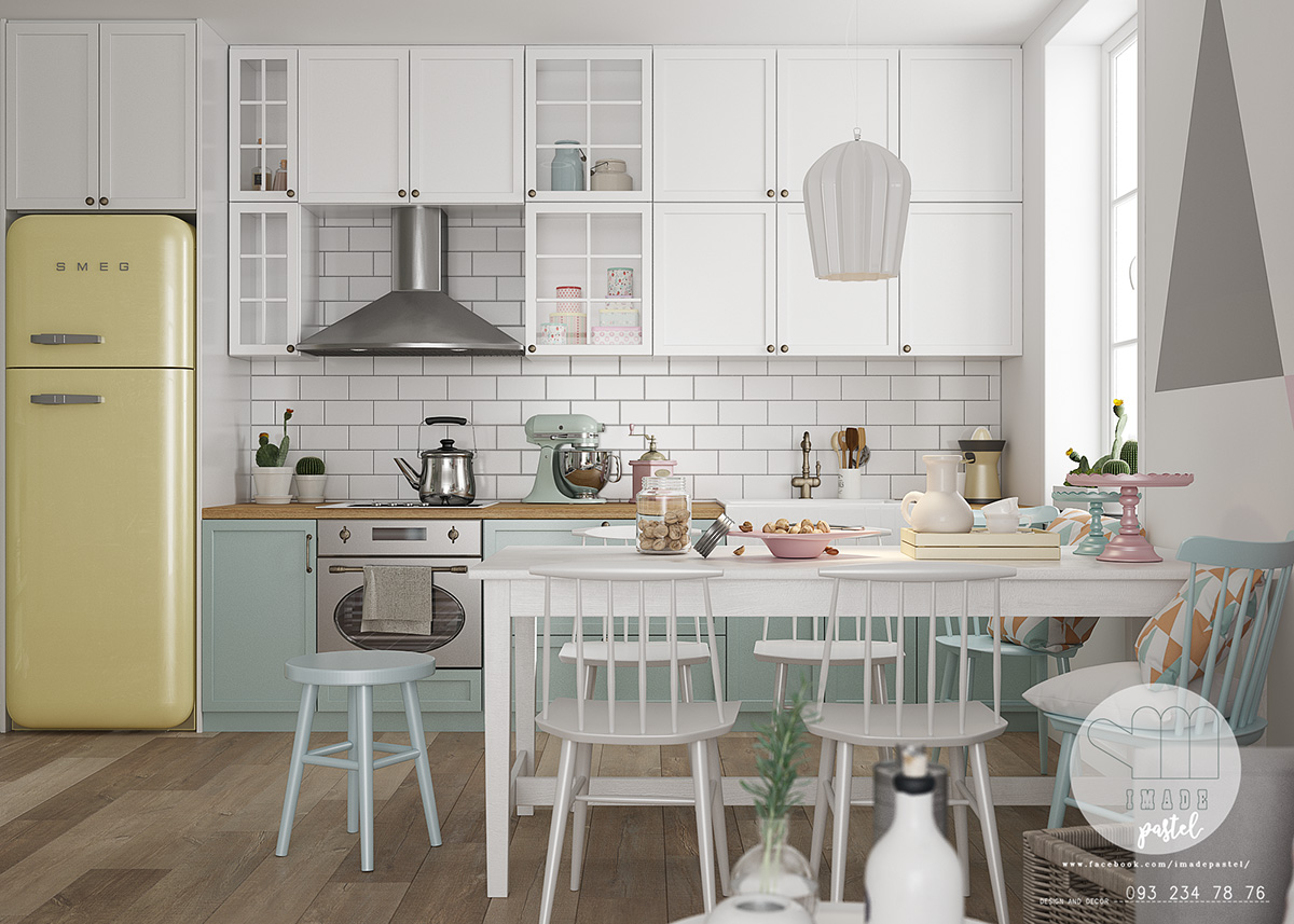 white-wooden-breakfast-table-lemon-SMEG-scandinavian-kitchen