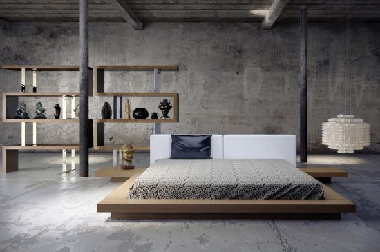 Japanese gray bedroom decor