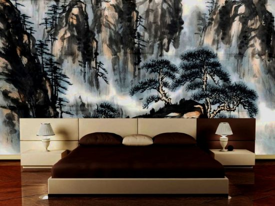 bedroom with an artwork wall