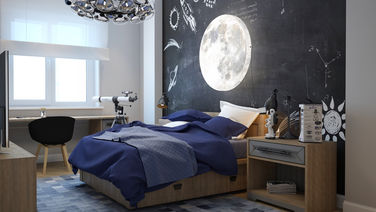 black-and-blue-bedroom