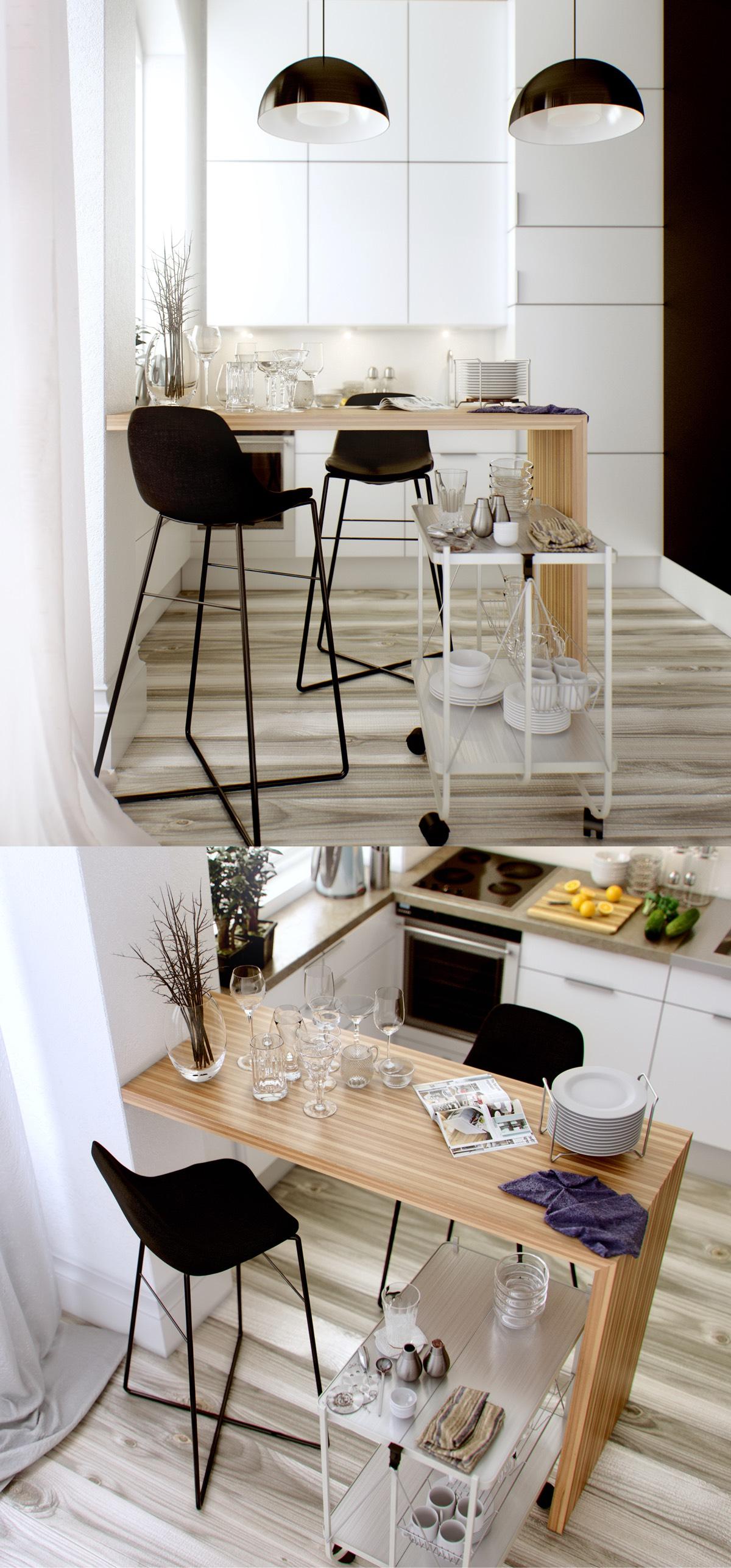 black-and-white small kitchen design