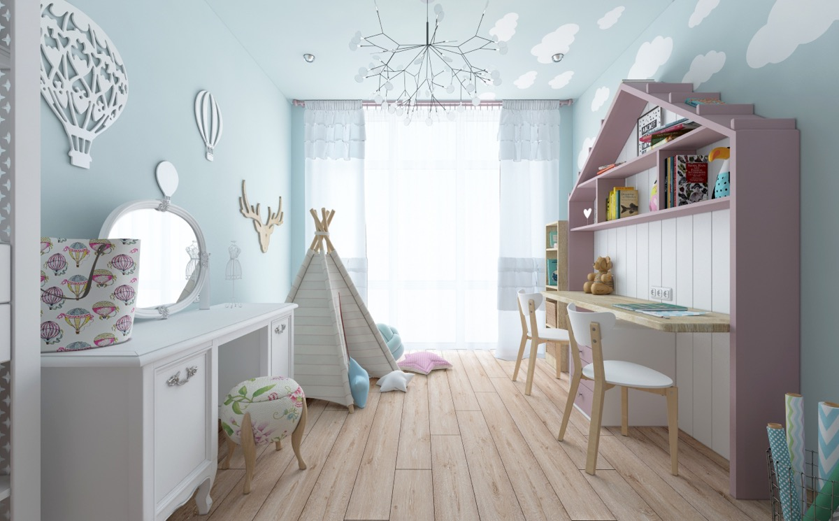 blue-cloud-design for kids room design