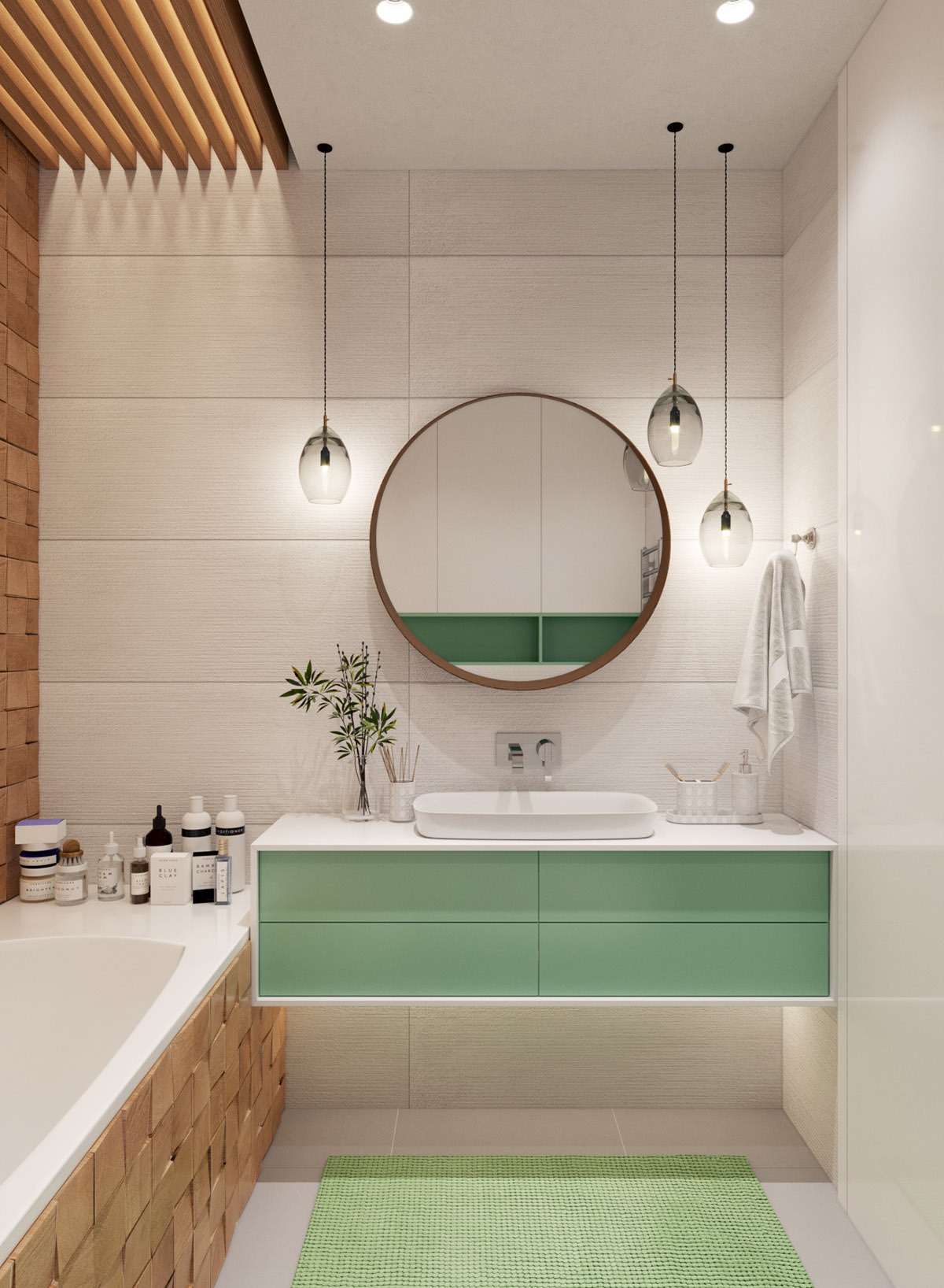 green-and-white-bathroom-design