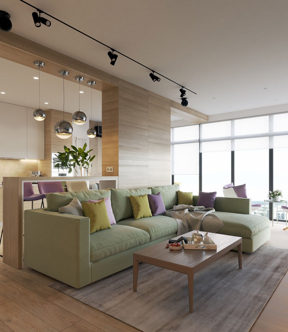 Modern House Design Using a Wooden Accent and Pastel Color Scheme ...