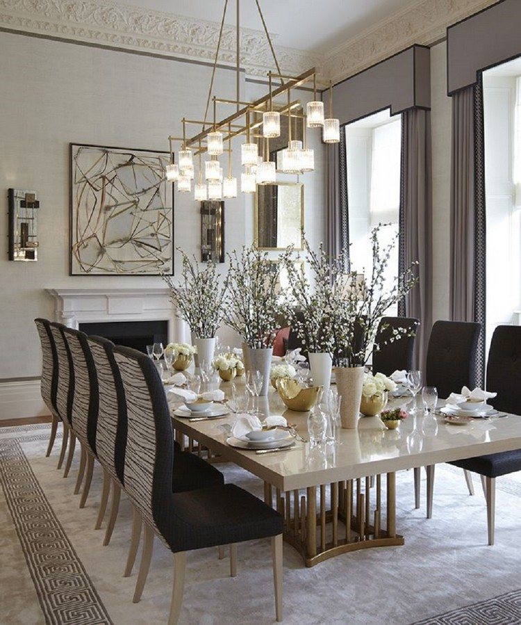 luxury dining room with chic lighting