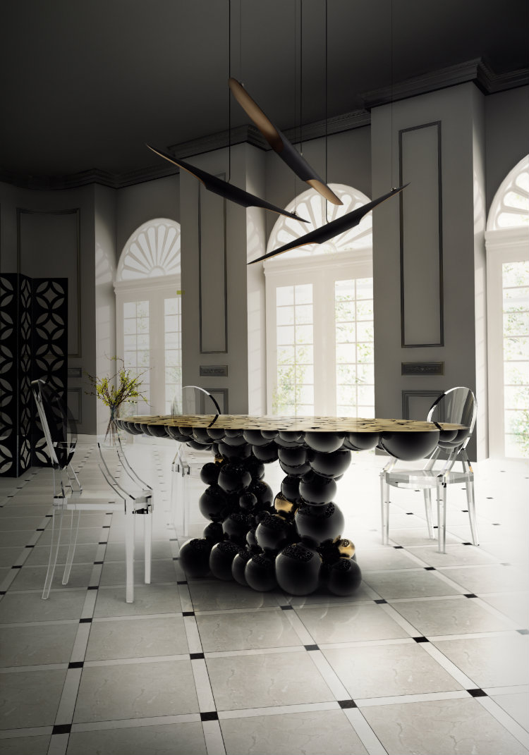 luxury dining room with whimsical feature